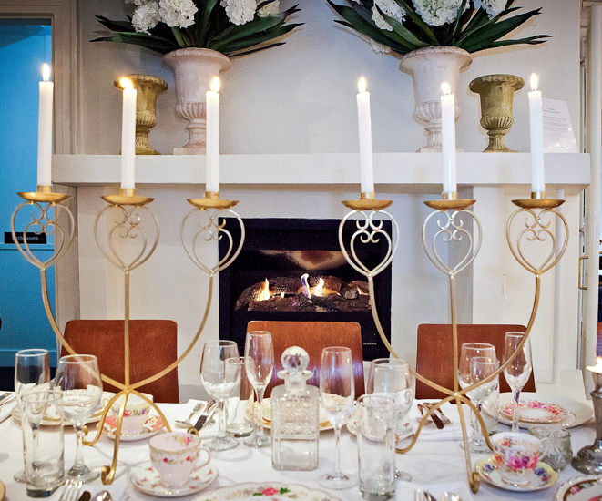 Wintergarden Pavilion Wedding, Candlebras and Fireplace