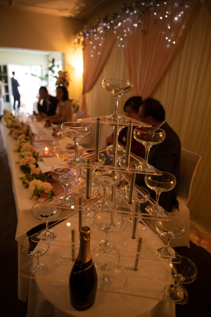 Wintergarden Pavilion Wedding, Champagne Tower